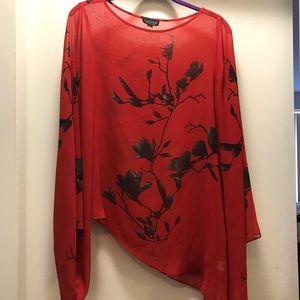 Topshop Tops - Topshop sheer red black kimono top blouse 6 small